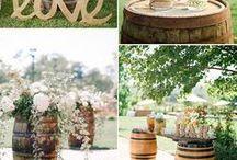 Barn wedding wine barrels
