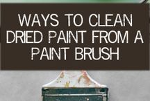 clean a paintbrush