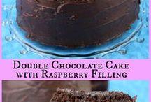 choc cake with raspberries