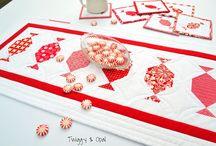 Christmas Joulu / Decorations, tabelcloths, pillows / koristeita, pöytäliinoja, tyynyjä