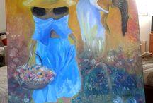 pintura / cuadros pintados a acuarela , óleo o carboncillo.
