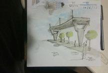 Architecture sketches watercolour