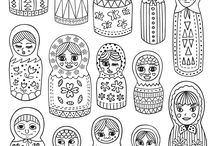 Russian dolls coloring pages / All our Russian dolls coloring pages. See more --> http://www.coloring-pages-adults.com/russian-dolls/