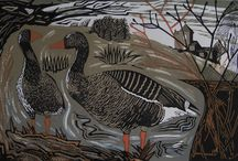 Pam Grimmond / Pam is an artist and printmaker based in Markington, North Yorkshire. In 2011 she graduated from Harrogate College with a First Class B. A. (Hons) in Applied Creative Design.  Inspired by nature in countryside and coastal areas, Pam is attracted by the colours, movements and characters of birds. She observes their habits and environments and attempts to give a glimpse into their secret worlds.
