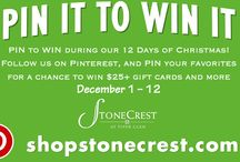 """Pin to Win StoneCrest / PIN to WIN during our 12 Days of Christmas for a chance to win $25+ gift cards and more! December 1 – 12. No purchase necessary. For official rules go to: shopstonecrest.com/events 1. Follow Stonecrest at Piper Glen on Pinterest 2. Create a board named """"Pin to Win Stonecrest"""" 3. Start Pinning! Pin your favorite items from our merchants on our calendar and you could win! 4. Use the hashtag #pintowinstonecrest with each pin 5. Post your board to our Facebook page"""