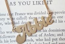Engraved & Personalised Jewellery / A selection of fantastic shots of personalised jewellery gifts. Engraved necklaces and bracelets featuring engraved initials, monograms and coordinates. Personalised jewelry with the name of your children or even a memorable date.  We also feature solid gold name plate necklaces as well as silver made to order name necklaces.