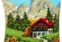 Snow and montains / Embroidery - knitting and cross stitch of snowy villages and montains