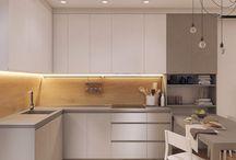 kitchen white matt oak floor