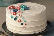 Decorating cakes.