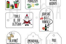 Visačky na dárky vánoce