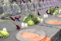 Chihuly Garden and Glass event March 2014 / kings table  floral design: Juniper Flowers linens: Choice linens