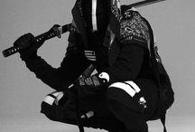 black n white / black and white style fashion monochrome fashion / style street goth ninja