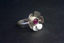 Silver flower rings