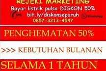 0857 3213 4547 rejeki marketing hemat listrik pulsa dan kebutuhan lain 50%