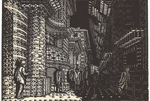 Palle Nielsen (1920-?) / http://collection.smk.dk/#auto=artist_name%3A%22Palle%20Nielsen%22  http://socks-studio.com/2016/03/10/apocalyptic-woodcuts-etchings-and-litographs-by-palle-nielson/