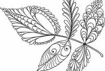 Zentangle  Листья, цветы, деревья