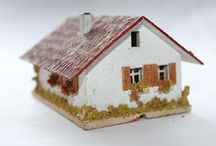 Vintage Railway Buildings of the 50's / Handmade wooden/cardboard /paper model railway houses in scale H0 from Rudolf Spitaler, August Flor, Creglinger (Creglinger Modell-Spielwaren-Fabrik), Walter Preh & Noch