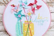 Hoop Art embroidered,felt,etc