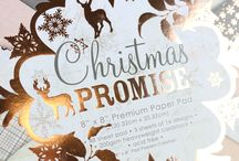 First Edition Christmas Promise / Witness the beauty and magic of Christmas in First Edition's latest paper pad 'Christmas Promise' by designer, Katie Pertiet. Inside the 200gsm paper pad flourished with rose gold foil,  you'll also find delicate washes of pastel tones, embedded with festive illustrations including snowflakes, Christmas trees and reindeers. A collection of the papers inside are designed with a distressed effect so you can create a vintage look with ease.
