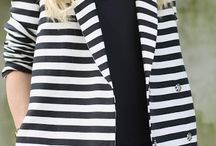 Mono inspo / Monochrome outfit inspiration. Think plain white tees, black cigarette trousers and French Riviera striped dresses.