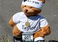 """Running Teddy Bears / Look out age group winners - there's a new runner on the block! Our 15"""" handmade jointed Personalized Running Ready to Race Bear is the perfect gift to celebrate a huge race. Our bear is dressed ready to race in a RokBAND, a technical headband made specifically for runners, personalized shirt and race bib, race medal and running shoe socks. goneforarun.com"""