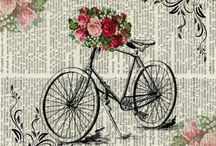 kerékpár színes / bicikli bicycle Vintage transfer transzfer colorful