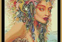 výšivka - fantasy - mořské panny
