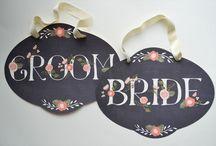 bride/groom chair signs.