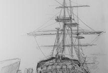 technische tekening van een schip / techniek
