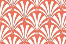 orange art deco pattern