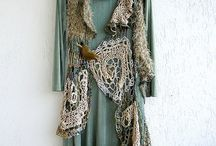 Free form crochet/knitted garments