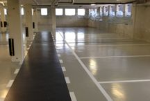 Coatingvloer parkeergarage Rijswijk / Nieuwe coatingvloer aan gelegt met parkeervakken en belijning