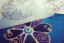 Textil painting, details.