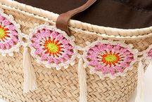 Cesta de praia com crochet
