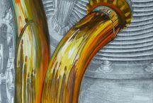 LES JOYAUX DE LA COURONNE / VELOCETTE/MOTO/  Dessin sur toile  Mine de plomb /huile  30x30