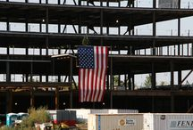 Topping Off Celebration 2014 / Holland/Pepper, a joint construction venture, completed the structural steel portion of Memorial Hospital East. In construction, topping out is a builders' rite traditionally held when the last beam (or its equivalent) is placed atop a structure. The event is casual, and included the placement of a tree on a beam. A toast was given to commemorate the milestone.