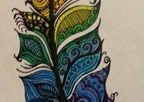 Tegning med farger.(fjær)