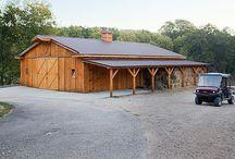 wood barns and houses