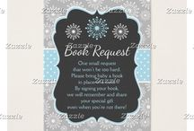 A Special Little Snowflake Blue Baby Shower / This collection features blue and white snowflakes on a chalkboard frame. The background consists of white snowflakes on gray and a blue and white polka dot ribbon.