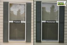 Faded to Brand New in an Hour! / Results visible in 8 seconds. Rub entire shutters glittery new with Shutter Renu.