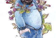 Blumen- und Pflanzenkarikaturen