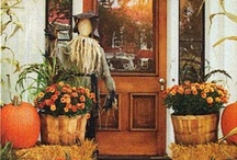 FALL in love / Indoor & outdoor  Pumpkins, cornstalks, orange and yellow colors, mums, cooler weather and hot drinks.... Are a few of my favorite things