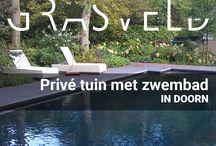 Privetuin met zwembad / Na de verbouwing van het woonhuis vond deze familie in Doorn het tijd om ook hun tuin aan te pakken en er gelijk een zwembad in te leggen. GRASVELD Tuin- en Landschapsarchitecten nam de uitdaging aan om de tuin volledig om te vormen. Passend bij hun wensen en overdadige beplanting ligt er nu een heerlijke gebruikstuin.