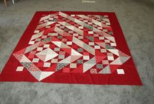 Two color half square quilt