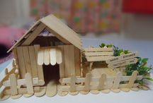 CRAFTS - POPSICLE HOUSES N FORTS / by Diane