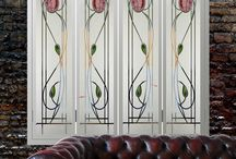 window shutters with stained glass