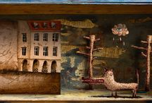 *Wolfensztajn in box* / Mixed media: old box, sketch, piece of illustration for my new book.