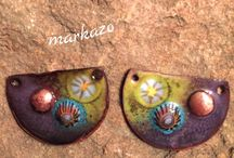 Copper Enameled charms, handcrafted earring components / Enameled copper charms and component sets
