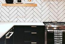 Black And White Kitchen Subway Tile