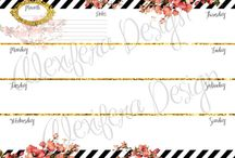 flowers and stripes a5 planner printable